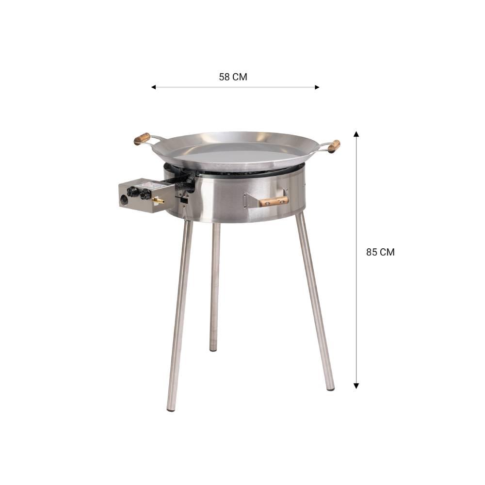 GrillSymbol stekhäll gasol PRO-580 inox, ø 58 cm