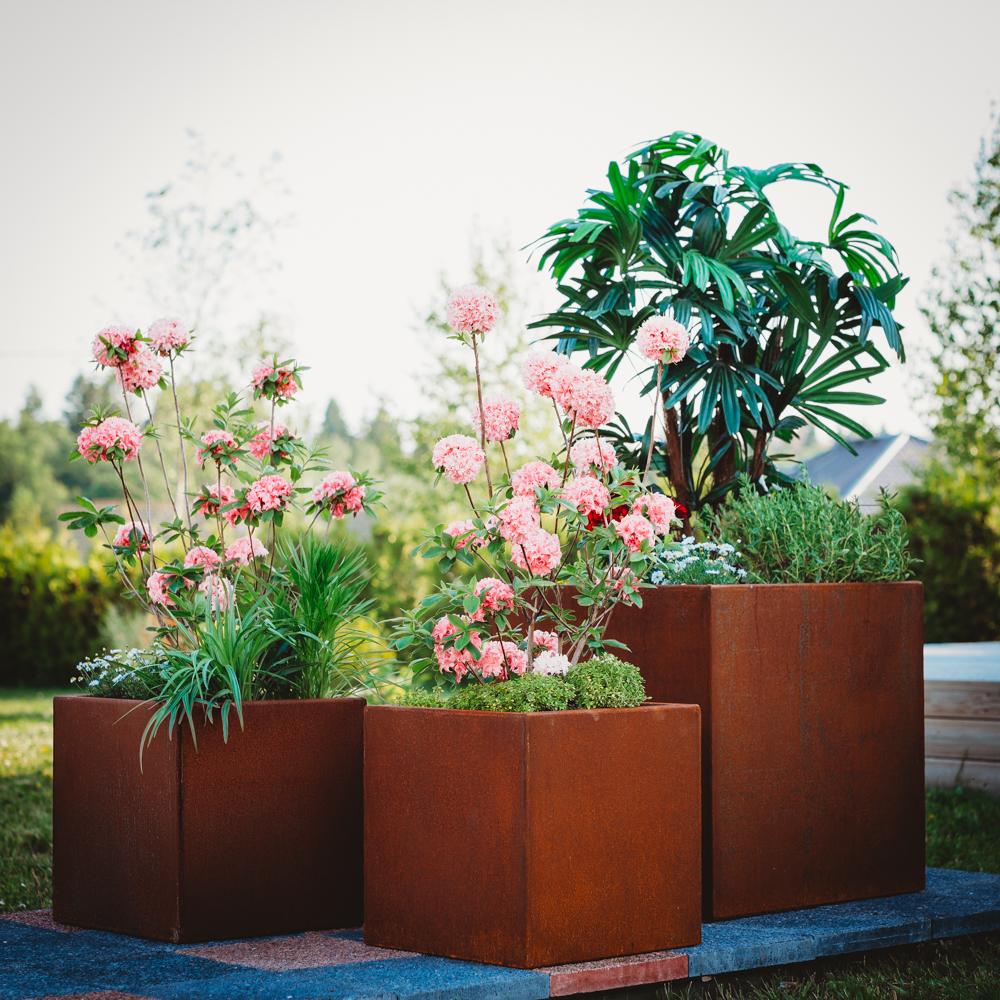 Corten Steel Flower Pot Set of 3 Fiora