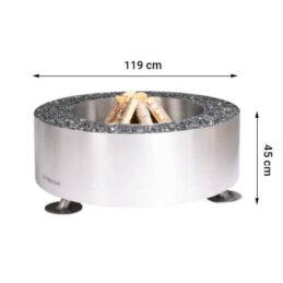 GrillSymbol rostfritt stål eldstad utomhus Luna Silver ø 119 cm